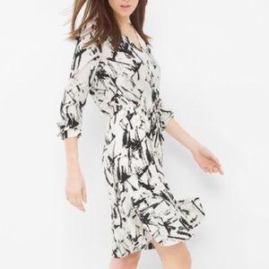WHBM Contrast Print Dress with Drawstring Waist